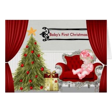 Christmas Themed Baby's First Christmas Card