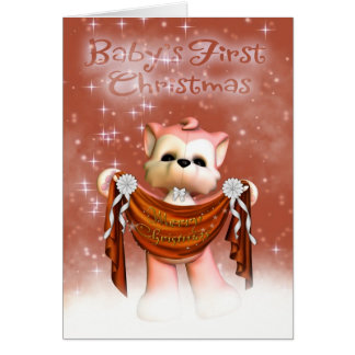 Baby's First Christmas Card With Cute Little Wolf