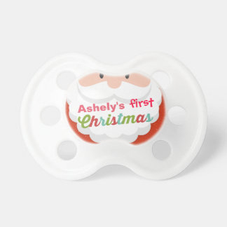 Baby's First Christmas Cartoon Santa Claus Pacifier