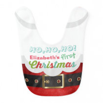 Baby's First Christmas Cartoon Santa Claus Suit Ho Baby Bib