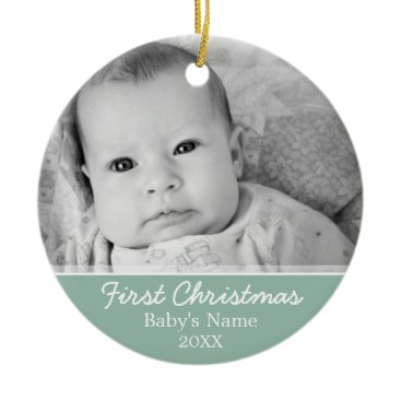 Christmas Themed Babys First Christmas Ceramic Ornament