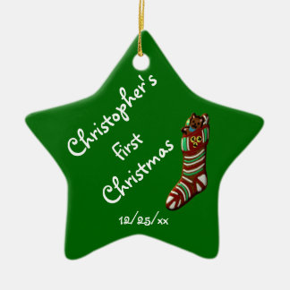 """Baby's First Christmas"" - Christmas Stocking Ceramic Ornament"