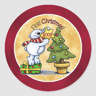 Baby's First Christmas Classic Round Sticker