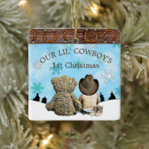 Baby's First Christmas Cowboy and Teddy Bear Ceramic Ornament