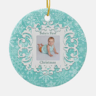 Babys First Christmas Custom Holiday Photo Ceramic Ornament