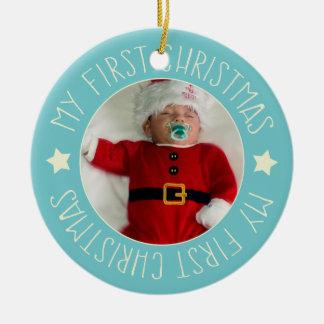 Baby's First Christmas Custom Photo Blue Ceramic Ornament