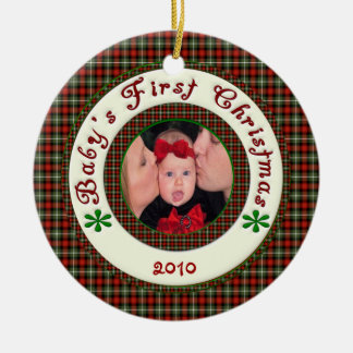 Babys First Christmas Custom Photo Dated Ceramic Ornament