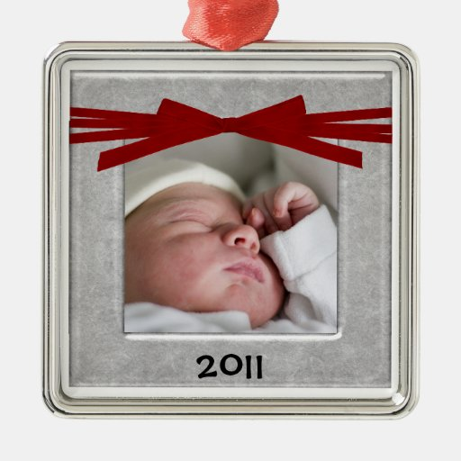 Babys First Christmas Custom Photo Ornament