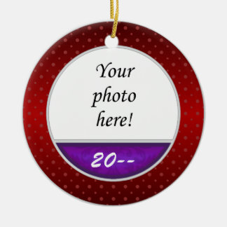 Baby's First Christmas Custom Photo Red Purple Double-Sided Ceramic Round Christmas Ornament