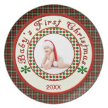 Babys First Christmas Custom Photo with Date Dinner Plate