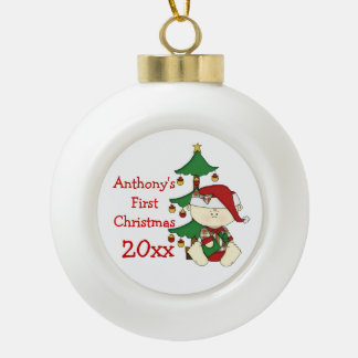 Baby's First Christmas-Customize Name/Year Ceramic Ball Christmas Ornament
