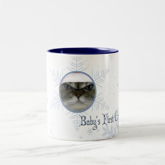 babys first christmas ! customize with your photo! Two-Tone coffee mug