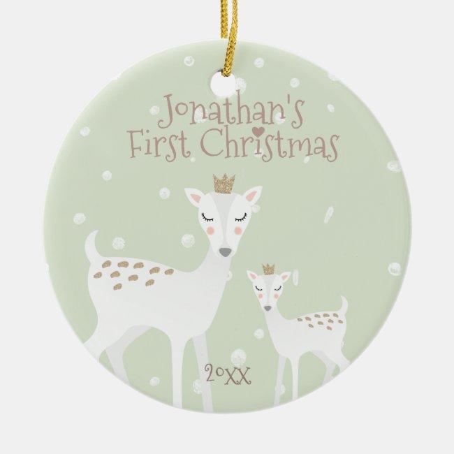 Baby's First Christmas - Cute Deer - Green