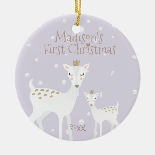Baby's First Christmas - Cute Deer - Lilac