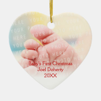 Baby's First Christmas Cute Owls Pattern Ceramic Ornament