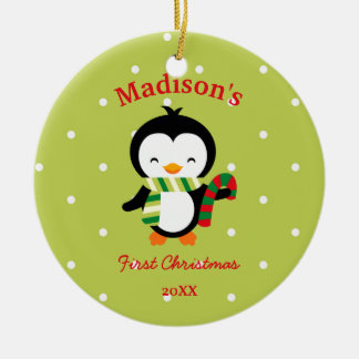Baby's First Christmas Cute Penguin and Polka Dots Ceramic Ornament