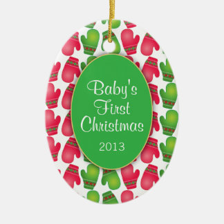 Baby's First Christmas, Cute Red & Green Mittens Ceramic Ornament