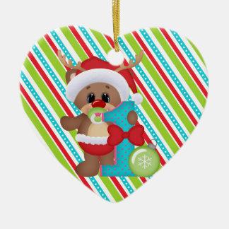 Babys First Christmas Cute Reindeer Ornament