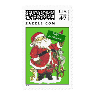 Baby's First Christmas Cute Santa Postage