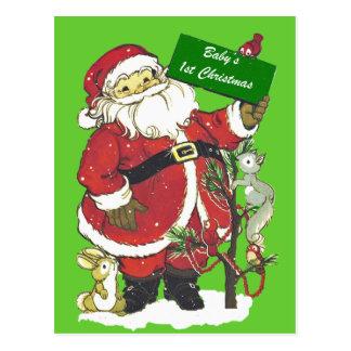 Baby's First Christmas Cute Santa Postcard