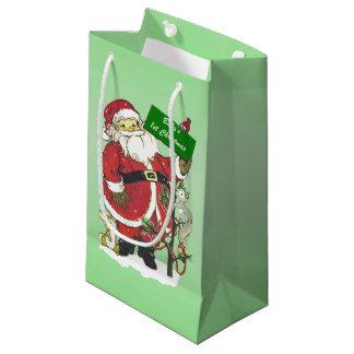 Baby's First Christmas Cute Santa Sign Small Gift Bag