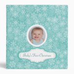 Baby's First Christmas Cute Snowflake Photo Custom 3 Ring Binder