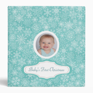 Baby's First Christmas Cute Snowflake Photo Custom 3 Ring Binder