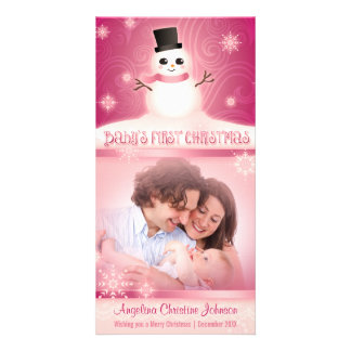Baby's First Christmas Cute Snowman Pink Photo Card