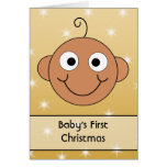 Baby's First Christmas. Dark Skin. On Gold Color. Cards