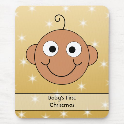 Baby's First Christmas. Dark Skin. On Gold Color. Mouse Pad