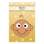 Baby's First Christmas. Dark Skin. On Gold Color. Stationery Paper