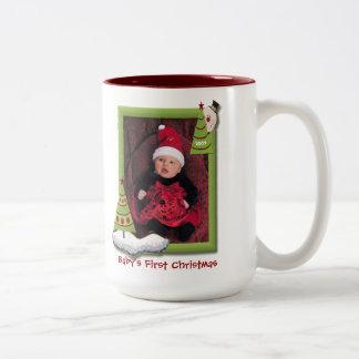 Babys First Christmas Dated Photo Two-Tone Coffee Mug
