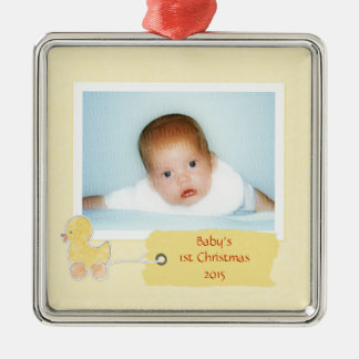 Babys First Christmas Duckling Custom Photo Frame Christmas Tree Ornaments