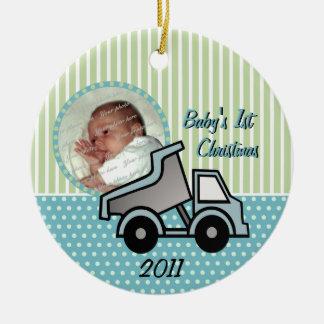 Babys First Christmas Dump Truck Photo Ceramic Ornament