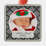 Baby's First Christmas Elegant Damask Black Square Metal Christmas Ornament