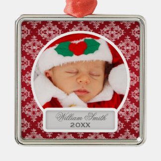 Baby's First Christmas Elegant Damask Red Metal Ornament