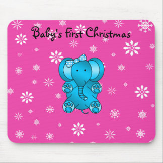 Baby's first christmas elephant pink snowflakes mouse pad