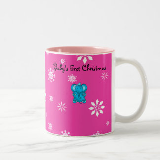 Baby's first christmas elephant pink snowflakes Two-Tone coffee mug