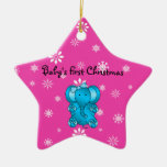 Baby's first christmas elephant pink snowflakes ornaments