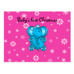 Baby's first christmas elephant pink snowflakes postcard
