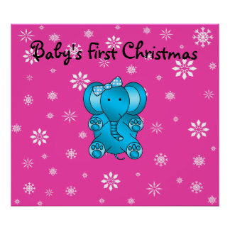 Baby's first christmas elephant pink snowflakes print
