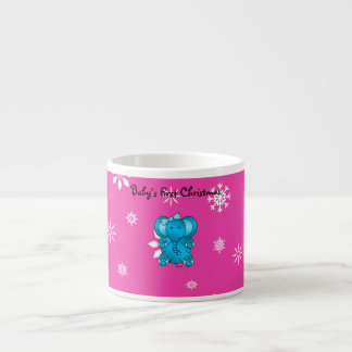 Baby's first christmas elephant pink snowflakes 6 oz ceramic espresso cup