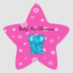 Baby's first christmas elephant pink snowflakes star stickers