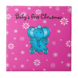 Baby's first christmas elephant pink snowflakes tile
