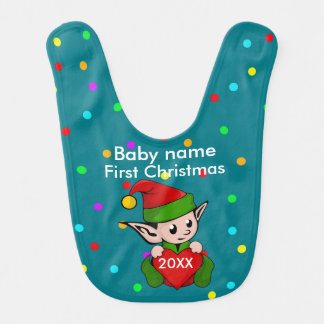 Baby's First Christmas...Elf On Green Background Baby Bib