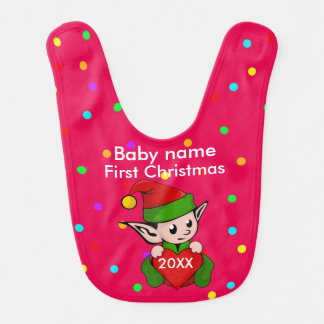 Baby's First Christmas...Elf On Red Background Baby Bib