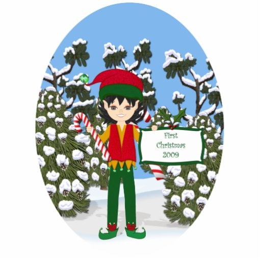 Babys First Christmas Elf Ornament Acrylic Cut Out Zazzle