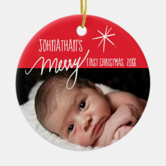 Baby's First Christmas| Festive Baby Photo Ceramic Ornament