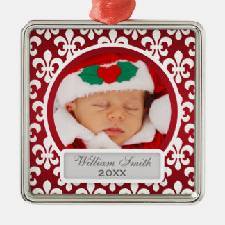 Baby's First Christmas Fleur De Lis Red Square Metal Christmas Ornament