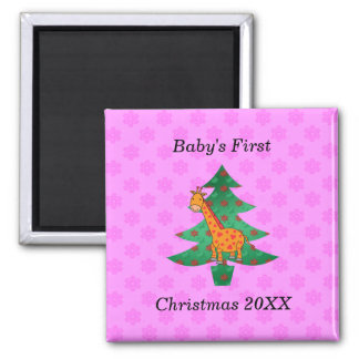 Baby's first christmas giraffe pink snowflakes 2 inch square magnet